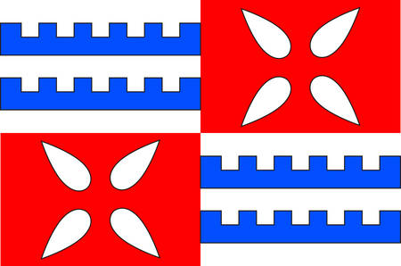 Flag of Muret is a commune in the Haute-Garonne department, of which it is a subprefecture, in the Occitanie region of southwestern France. Vector illustration