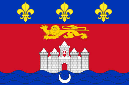Flag of Bordeaux is a port city on the Garonne River in the Gironde department in southwestern France. Vector illustration