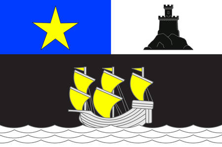 Flag of Rochefort is a commune in southwestern France, a port on the Charente estuary. It is a sub-prefecture of the Charente-Maritime department. Vector illustration Illustration