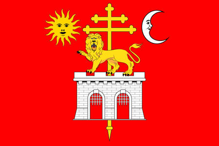 Flag of Albi is a commune in Tarn of Occitanie is a Region of southern France. Vector illustration