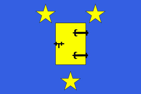 bordeaux region: Flag of Ussel is a commune in the Correze department in central France. Vector illustration Illustration