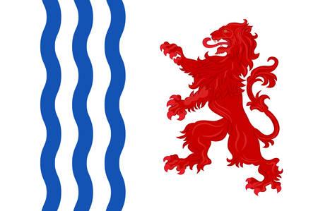 Bandera de Nueva-Aquitania es la región administrativa más grande de Francia, situada en el suroeste del país. Ilustración del vector Ilustración de vector