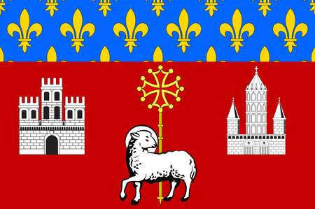 toulouse: Flag of Toulouse is the capital city of the southwestern French department of Haute-Garonne of Occitanie region. Vector illustration