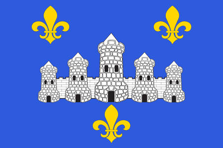 Flag of Chateau-Thierry is a French commune in department of the Aisne, in the administrative region of Hauts-de-France and in the historic Province of Champagne. Vector illustration