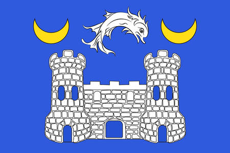 northwestern: Flag of Avranches is a commune in the Manche department in the Normandy region in northwestern France. Vector illustration