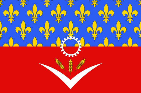 Flag of Seine-Saint-Denis is a French department in the Ile-de-France region. Vector illustration 向量圖像