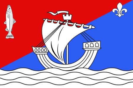 Bandiera di Boulogne-Billancourt è una sottoprefettura del dipartimento Hauts-de-Seine e la sede del Arrondissement di Boulogne-Billancourt, in Francia. Illustrazione vettoriale Archivio Fotografico - 81667358