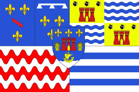 Flag of Evry is a commune in the southern suburbs of Paris, France, prefecture of the department of Essonne. Vector illustration
