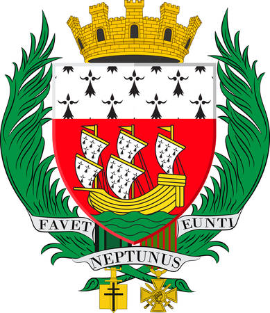 nant: Coat of arms of Nantes is a city in Pays de la Loire is a Region of France. Vector illustration