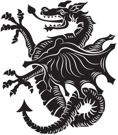 Tribal Tattoo Dragon Vector Illustration on white background Vettoriali