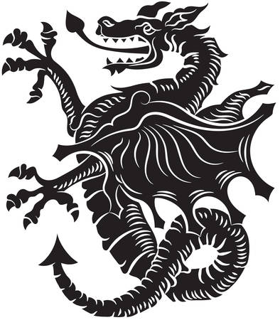 Tribal Tattoo Dragon Vector Illustration on white background Ilustrace