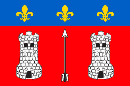 Flag of La Fleche is a town and commune in the French department of Sarthe, in the Pays de la Loire region in the Loire Valley. Vector illustration