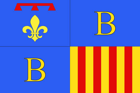 Flag of Brignoles is a commune in the Var departement in the Provence-Alpes-Cote dAzur region in southern France. Vector illustration 向量圖像