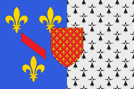 western town: Flag of Chateaubriant is a town in western France. Vector illustration