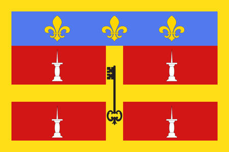 Flag of Le Mans is a city in France, on the Sarthe River. Traditionally the capital of the province of Maine, it is now the capital of the Sarthe department. Vector illustration
