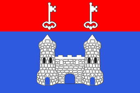 the loire: Flag of Chateau-Gontier is a commune in the Mayenne department in north-western France. Vector illustration