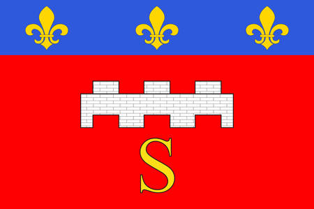 Flag of Saumur is a commune in the Maine-et-Loire department in western France. Vector illustration