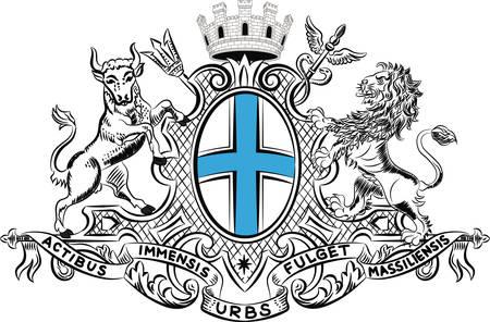 Le blason de Marseille est une capitale du département des Bouches-du-Rhône et de la région Provence-Alpes-Côte d'Azur en France. Illustration vectorielle