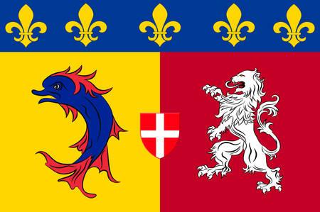 Flag of Rhone-Alpes is a former administrative region of France. Vector illustration