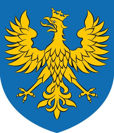 Coat of arms of Opole Voivodeship or Opole Province in Poland. Vector illustration from Giovanni Santi-Mazzini Heraldic 2003