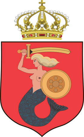 baffle: Coat of arms of Warsaw is the capital and largest city of Poland. Vector illustration from Giovanni Santi-Mazzini Heraldic 2003 Illustration