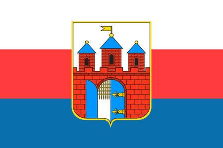 Flag of Bydgoszcz  city in Kuyavian-Pomeranian Voivodeship in Poland. Vector illustration Illustration