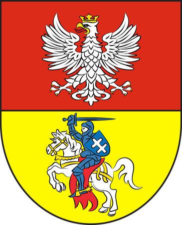 Coat of arms of Bialystok in Podlaskie Voivodeship in northeastern Poland. Vector illustration