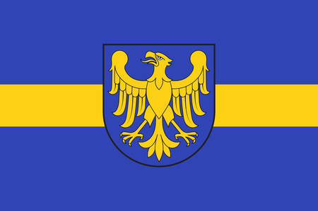 Flag of Silesian Voivodeship or Silesia Province in southern Poland. Vector illustration