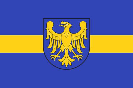 Flaga województwa śląskiego lub województwa śląskiego w południowej Polsce. Ilustracji wektorowych Ilustracje wektorowe