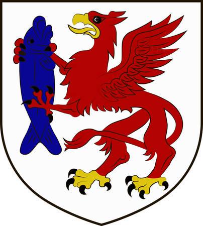northwestern: Coat of arms of Szczecinek is a city in Middle Pomerania, northwestern Poland. Vector illustration from the Heraldry of the World authors and compilers Olga Bortnik, Ivan Rezko, 2008 Illustration