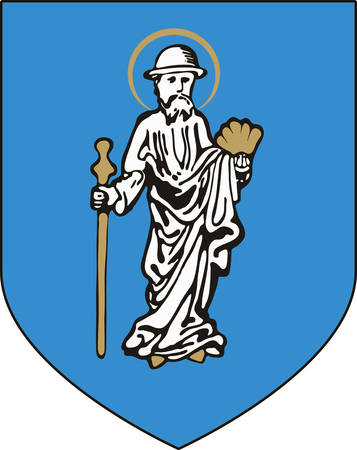 Coat of arms of Olsztyn is the capital of the Warmian-Masurian Voivodeship in Poland. Vector illustration from the Heraldry of the World authors and compilers Olga Bortnik, Ivan Rezko, 2008