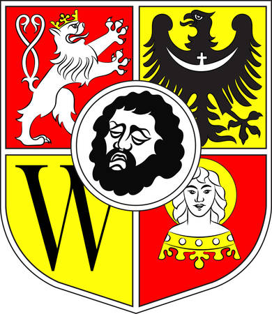 Flag of Wroclaw is the largest city in Poland. Vector illustration from Giovanni Santi-Mazzini Heraldic 2003 Illustration