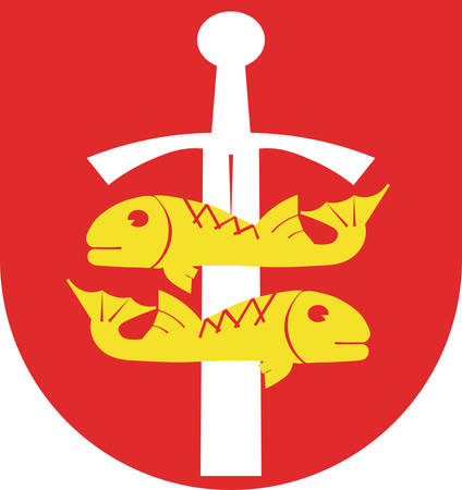 Coat of arms of Gdynia is a city in the Pomeranian Voivodeship of Poland. Vector illustration from the Heraldry of the World authors and compilers Olga Bortnik, Ivan Rezko, 2008 Illustration