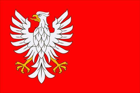Flag of Masovian Voivodeship or Mazovia Province in eastern Poland. Vector illustration