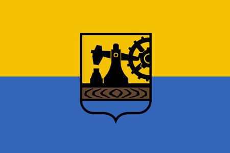 Flaga Katowic jest miastem w województwie śląskim, w południowo-zachodniej Polsce. Ilustracja wektorowa z Giovanni Santi-Mazzini Heraldic 2003