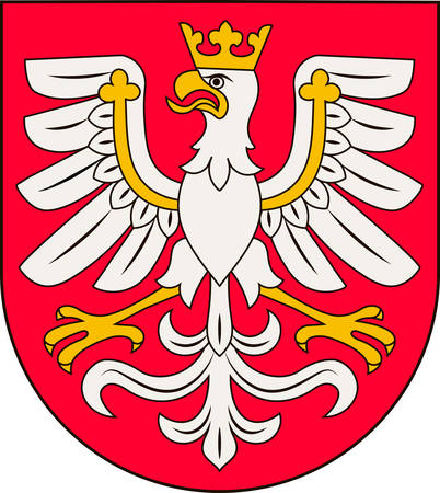 Coat of arms of Lesser Poland Voivodeship or Malopolska Province in southern Poland. Vector illustration from Giovanni Santi-Mazzini Heraldic 2003