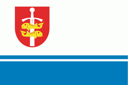 gdansk: Flag of Gdynia is a city in the Pomeranian Voivodeship of Poland. Vector illustration