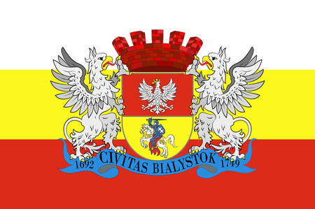 bandera de polonia: Flag of Bialystok in Podlaskie Voivodeship in northeastern Poland. Vector illustration