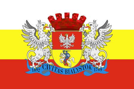 Flag of Bialystok in Podlaskie Voivodeship in northeastern Poland. Vector illustration