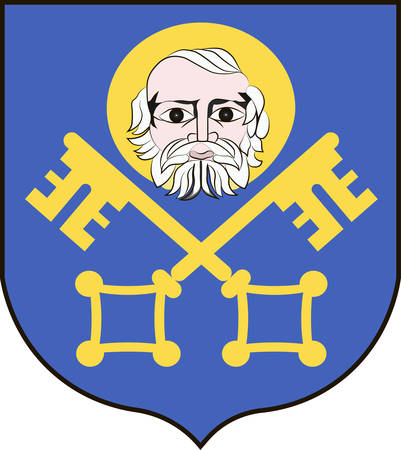 Coat of arms of Trzebnica is a town in Lower Silesian Voivodeship in south-western Poland. Vector illustration from the Heraldry of the World authors and compilers Olga Bortnik, Ivan Rezko, 2008 Illustration