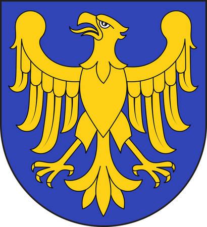 Herb województwa śląskiego lub śląskiego na południu Polski. Ilustracja wektorowa z Giovanni Santi-Mazzini Heraldic 2003