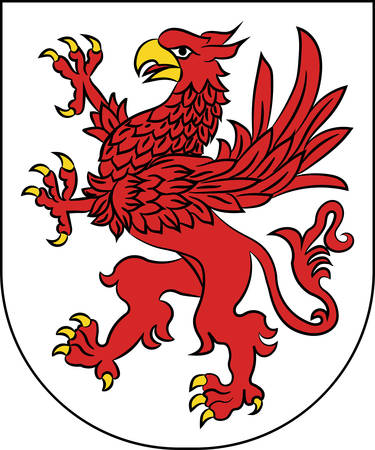 Flag of West Pomeranian Voivodeship or West Pomerania Province in northwestern Poland. Vector illustration from Giovanni Santi-Mazzini Heraldic 2003