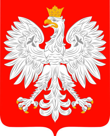 Coat of arms of Poland is a parliamentary republic in Central Europe. Vector illustration from Giovanni Santi-Mazzini Heraldic 2003