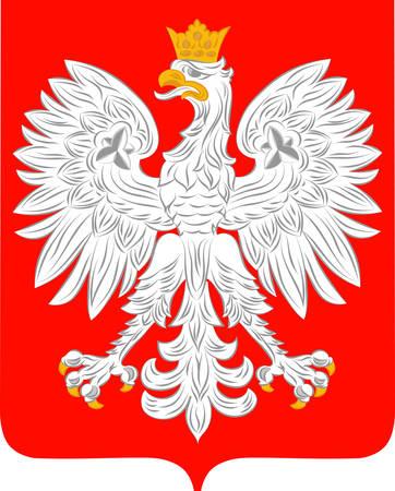 Herb Polski jest republiką parlamentarną w Europie Środkowej. Ilustracja wektorowa z Giovanni Santi-Mazzini Heraldic 2003