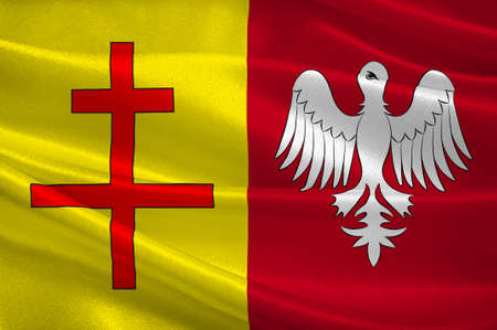 Flag of Sarreguemines is a commune in the Moselle department of the Grand Est administrative region in north-eastern France. 3D illustration