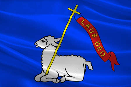 Flag of Lannion is a commune in the Cotes-dArmor department in Brittany in northwestern France. 3D illustration