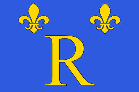 Flag of Riom is a commune town in the Puy-de-Dôme department in Auvergne in central France. 3D illustration