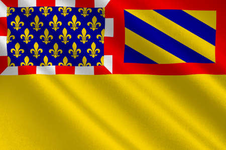 burgundy: Flag of Cote-dOr is a department in the eastern part of France. 3D illustration