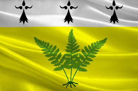 Flag of Fougeres is a commune and a sub-prefecture of the Ille-et-Vilaine department in Brittany in northwestern France. 3D illustration