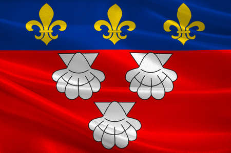 aurillac: Flag of Aurillac is a French commune, capital of the Cantal department, in the Auvergne region of south-central France. 3D illustration